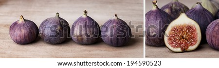 Panoramic Format Collage with Ripe Figs - stock photo