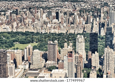 Panoramic Helicopter view of Central Park South and surrounding Skyscrapers, New York City. - stock photo