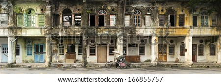 Panoramic image of derelict heritage houses in George Town, Penang, Malaysia - stock photo