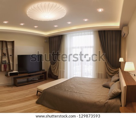 Panoramic Interior design series of nice cozy bedroom - stock photo