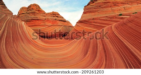 Panoramic landscape at the Wave in the Vermilion Cliffs, Utah, USA. - stock photo