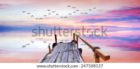 Panoramic landscape of a sunrise - stock photo