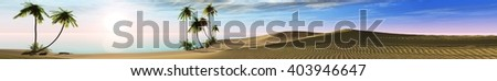Panoramic landscape of tropical beach with palm trees, banners, 3D rendering. - stock photo