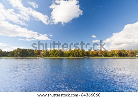 Panoramic landscape view and clear blue sky. - stock photo
