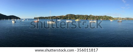 Panoramic landscape view of Mangonui Northland at the north Island of New Zealand.(BW) - stock photo