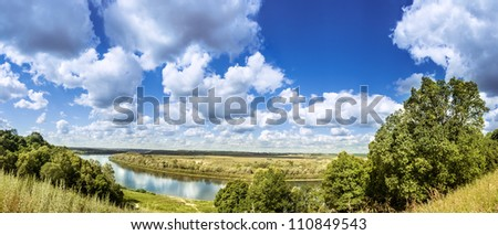 Panoramic landscape with the river - stock photo