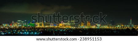 Panoramic Las Vegas Strip cityscape at night. - stock photo