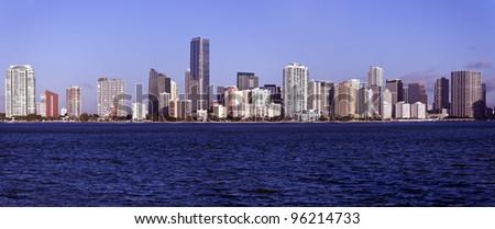Panoramic Miami, Florida - seen morning time - stock photo