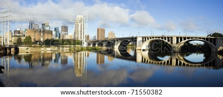 Panoramic Minneapolis - view with Mississippi River - stock photo