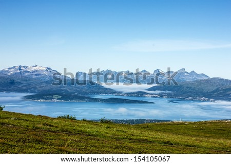 Panoramic mountain landscape, Tromso, Norway. - stock photo
