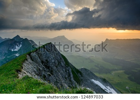 Panoramic mountain view from Brienzer Rothorn at Sunset, Berner Oberland, Switzerland - stock photo