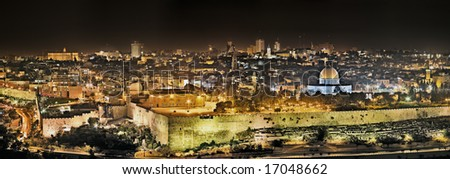 Panoramic night view of Temple Mount from the Mount of Olives, Jerusalem, Israel - stock photo