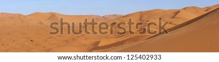 panoramic of dunes in the eastern Sahara desert - stock photo