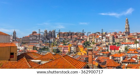 Panoramic of port with the Clerigos tower and other churches. - stock photo