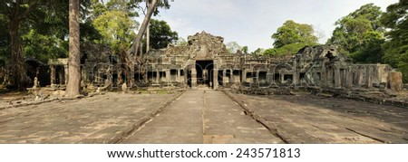 Panoramic of Preah Kahn Temple Entrance and Walkway, Angkor Wat - stock photo