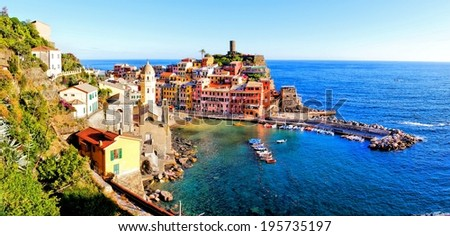 Panoramic of the coastal village of Vernazza, Cinque Terre, Italy               - stock photo