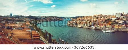 Panoramic of the Douro in Porto. - stock photo