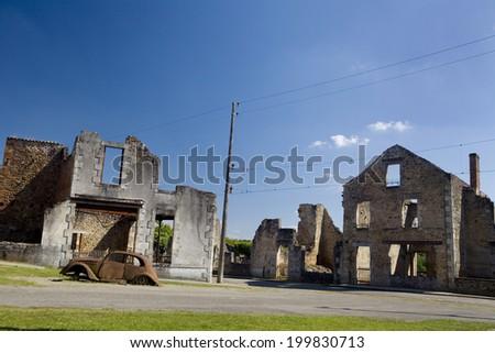 Panoramic of the french village of Oradour-sur-Glane.  Oradour sur Glane.  - stock photo