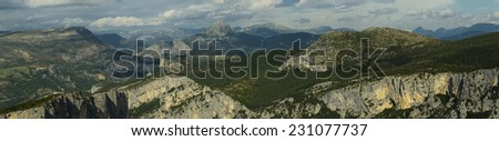 Panoramic of the mountain range over the Verdon Gorges in France - stock photo