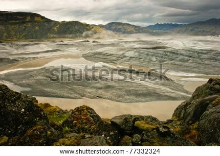 Panoramic of Vatnajokull glacier, Iceland - stock photo