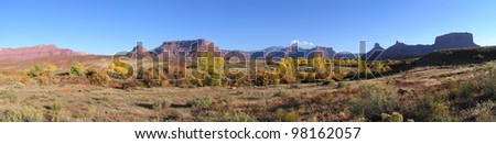 Panoramic overlook of Castle Valley in fall, Utah. - stock photo