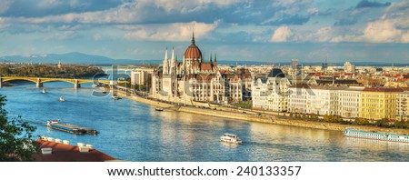 Panoramic overview of Budapest with Parliament building - stock photo