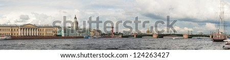 Panoramic overview of Saint Petersburg, Russia with Neva river - stock photo