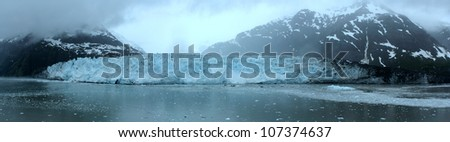 panoramic picture of Margerie glacier - stock photo