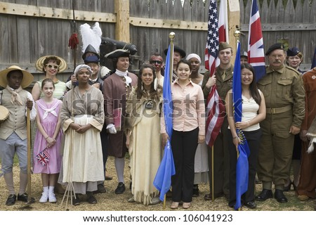 Panoramic portrait of past and present Americans as they stand in the James Fort, Jamestown Settlement, as part of the 400th Anniversary of Jamestown Colony, Virginia, on May 4, 2007 - stock photo