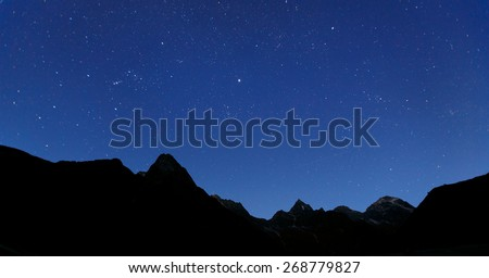 Panoramic portrait of the constellation of Orion - Nepal, Himalayas - stock photo