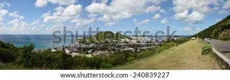 Panoramic scenery from the island of Saint Maarten in the Caribbean - stock photo
