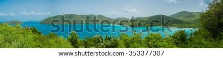 Panoramic shot of Francis (left) and Maho (right) beaches on St. John - stock photo