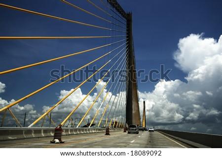 Panoramic shot of Sunshine Skyway Bridge on US 275 near St. Petersburg, Florida - stock photo