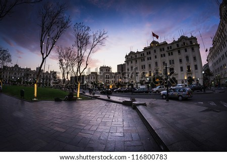 Panoramic shot of the San Martin park, at the sunset, in Lima, Peru - stock photo