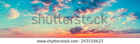 Panoramic Shot View Bright Blue, Orange And Yellow Colors Sunset Sky. Panorama  - stock photo