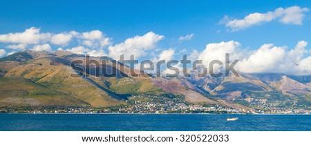 Panoramic summer landscape of Gaeta bay, Mediterranean Sea coat, Italy - stock photo