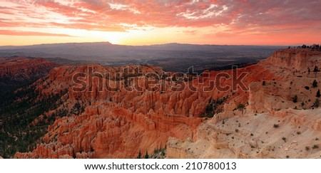 Panoramic sunrise dawn landscape in Bryce Canyon National Park, Utah, USA. - stock photo