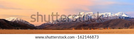 Panoramic sunrise landscape in Heber Valley, Utah, USA. - stock photo