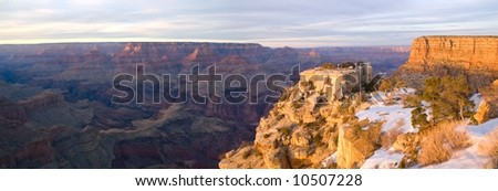 Panoramic sunset from Grand Canyon National Park in Arizona - stock photo