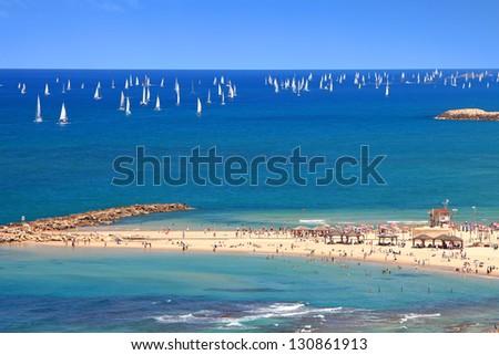 Panoramic top view of Tel-Aviv beach and yachting (Mediterranean sea. Israel) - stock photo