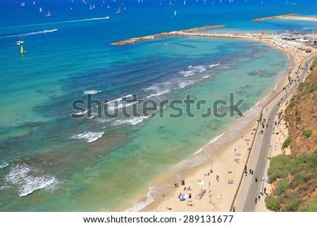 Panoramic top view of Tel Aviv beach (Mediterranean sea. Israel) - stock photo