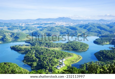 Panoramic Tuyen lam Lake, view from pinhatt mountain, Da Lat, Vietnam.Da lat is one of the best tourism city in Vietnam. Dalat city is Vietnam's largest vegetable and flowers growing areas. - stock photo