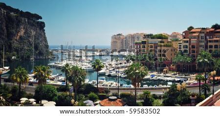 Panoramic Viev to The Fontvieille Harbour, principality of Monaco, - stock photo