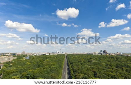 panoramic view at Berlin City Skyline from Tiergarten at summer, Germany, Europe,  - stock photo