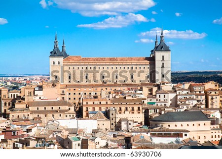 Panoramic view at Toledo and Alcazar fortified palace, Spain - stock photo