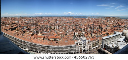 Panoramic view (East) of piazza San Marco, Doge's Palace from Campanile di San Marco. Venice, Italy. July, 2007. - stock photo