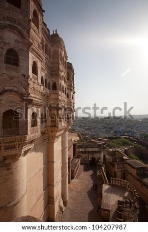 Panoramic view from  Mehrangarh Fort to Jodhpur (blue city), Rajasthan, India - stock photo