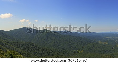 Panoramic view from Millers Head Lookout in the Skyland Area of Shenandoah National Park, Virginia.   - stock photo