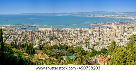 Panoramic view from Mount Carmel in Haifa, Israel.  - stock photo