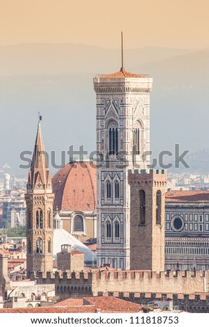 Panoramic view from Piazzale Michelangelo in Florence - Italy - stock photo
